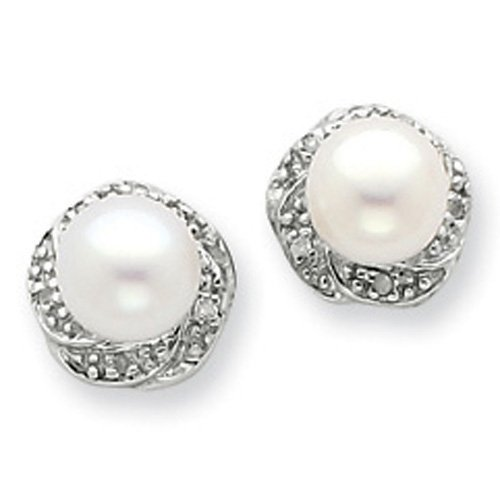 Sterling Silver Rhodium Freshwater Cultured Pearl & Diamond Post Earrings