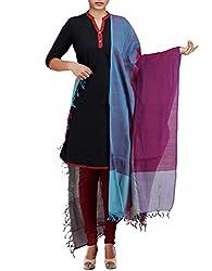 Unnati Silks Women Purple-Multicolor Pure Handloom Andhra Khadi Cotton dupatta