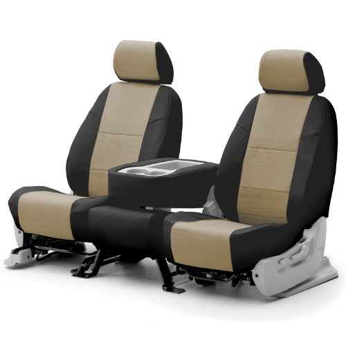 COVERKING CSCQ16HD7487 CUSTOM SEAT COVER (1 ROW) PREMIUM LEATHERETTE TAUPE / BLACK SIDES 2007 - 2009 Honda CR-V