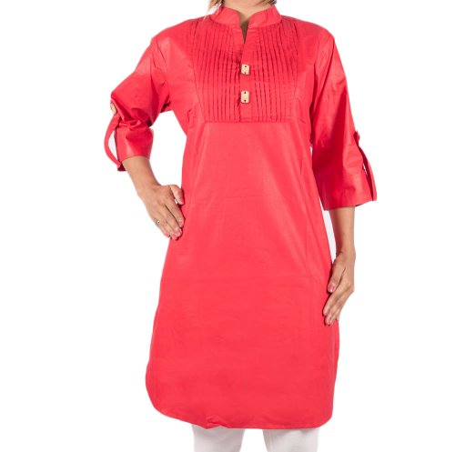 Apple Mruga Women's Apple Cut Shiny Cotton Kurti-38-Red (Multicolor)