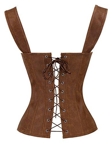 Charmian Women's Renaissance Lace Up Vintage Boned Bustier Corset with Garters 2