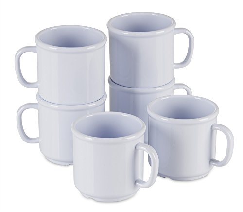 6 Pack Set - SAN Plastic - Hot Beverage Mug, White - 10 Ounce (Plastic Cups Microwave Safe compare prices)