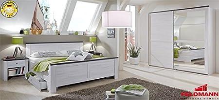 Schlafzimmer komplett 5-teilig mit Schwebeturenschrank 878069 weißeiche / lava