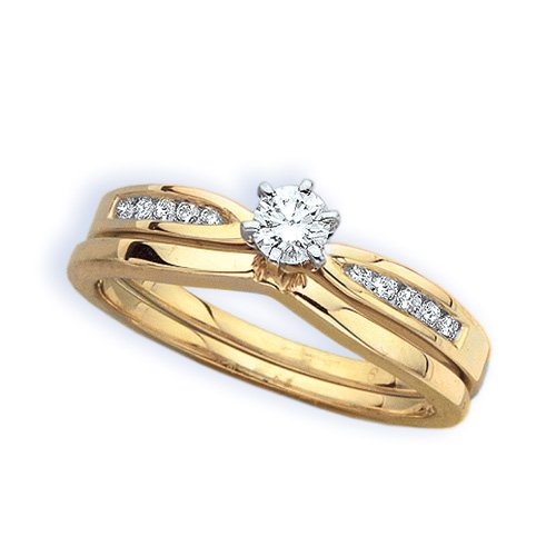 14K Yellow Gold 1/3 ct. Diamond Bridal Engagement Set (G-H Color, SI2-I1 Clarity)