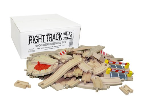 Wooden Train Track Super Deluxe Set: 91 Assorted Pieces 100% Compatible with All Major Brands including Thomas Wooden Railway System By Right Track Toys - Compare and Save - 100% Tracks and No Fillers