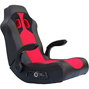 X Video Rocker Vibe 2.1 Audio Gaming Chair with Bluetooth and Vibration, Black/Red, 5172801