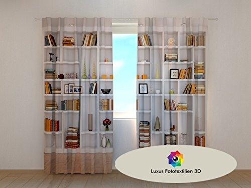 Fotogardine-3D-Bcherregal-Foto-Vorhang-Gardine-Vorhnge-in-Luxus-Fotodruck-3D-Hhe-245m-Breite-290-2x145m-Weitere-Gren-und-Ausfhrungen-in-unserem-Shop-oder-per-Nachricht-bestellenLieferung-15-Werktage-n