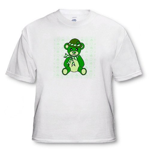 St. Patricks Day Cute Green Irish Teddy Bear - Adult T-Shirt Small