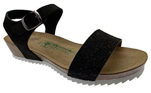 sandalo donna nero aperto perline zeppa comodo art 19616 38 nero