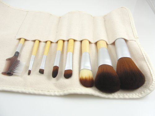 8 Piece Synthetic Vegan Makeup Brush Set and Hemp Roll Case