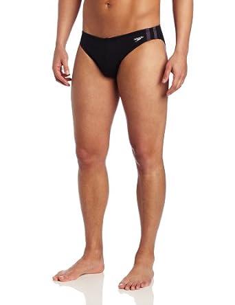 Speedo Men's Shoreline 1 Inch Xtra Life Lycra Fashion Brief Swimsuit, Black, 30