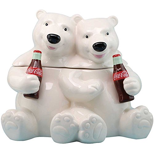Coca Cola Coke Hugging Polar Bears Holding Retro Bottles Ceramic Cookie Jar (Coca Cola Holiday Soda Bottle compare prices)