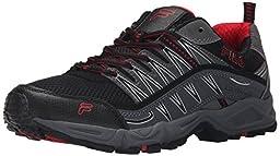 Fila Men\'s AT Peake Trail Running Shoe, Black/Castle Rock/Fila Red, 6.5 M US
