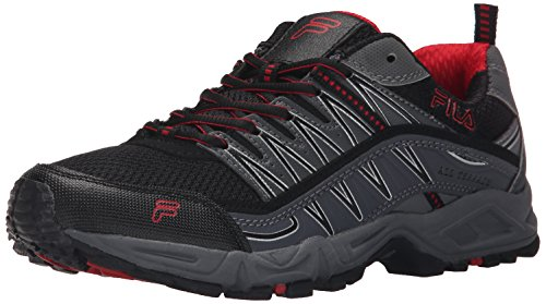 Fila Men's AT Peake Trail Running Shoe, Black/Castle Rock/Fila Red, 10.5 M US