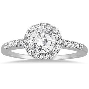 IGI Certified 1 Carat T.W Diamond Halo Engagement Ring in 10K White Gold (J-K Color, I2-I3 Clarity)