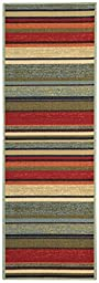 Anti-Bacterial Rubber Back RUGS RUNNERS Non-Skid/Slip 2x5 Runner Rug | Multicolor Stripes Indoor/Outdoor Thin Low Profile Modern Home Floor Kitchen Hallways Colorful Decorative Rug