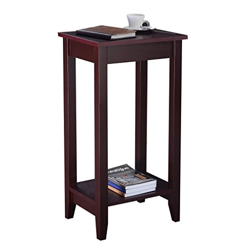 Fashion COSTWAY Tall End Table Coffee Stand Night Side Nightstand Accent Furniture Brown (Night Stand Mini Fridge compare prices)