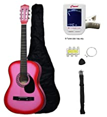 Crescent MG38-PK 38 Acoustic Guitar Starter Package PINK (Includes CrescentTM Digital E-Tuner)