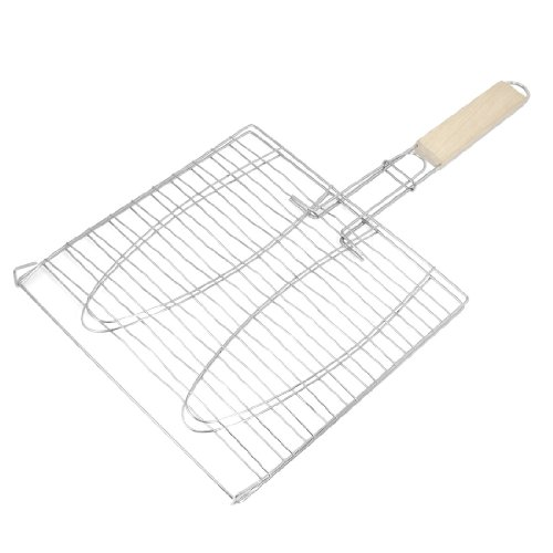 Amico Silver Tone Metal Picnic Outdoor Barbecue Tool Triple Fish Grilling Basket 17.3