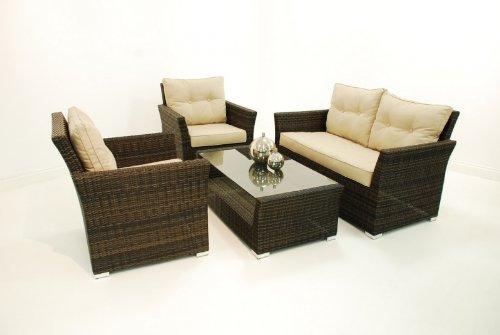 Rattan-Gartenmöbel Atlanta Braun dark Große sofa-set, 4-teilig günstig kaufen