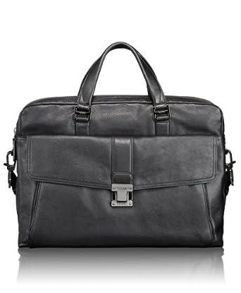 (狂跌)途米Tumi 男士顶级真皮切斯特商务公文包黑Luggage Beacon Hill Chestnut$446.25