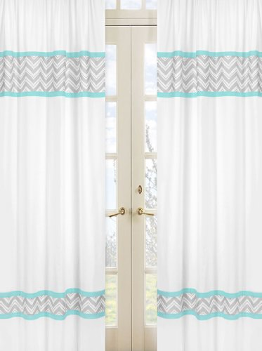 Turquoise and Gray Chevron Zig Zag Window Treatment Panels by Sweet Jojo Designs - Set of 2 - 1