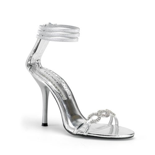 ENCHANT-20, Sexy Prom or Formal Party 4'' Back-Zip Sandal With Rhinestones in Silver Metallic by Pleaser USA Shoes