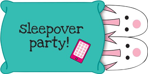 Creative Converting Pink Zebra Boutique Pop-Up Style Slumber Party Invitations, 8 Count - 1