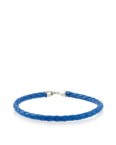 Mateo Bijoux Rope Stanchion Leather Bracelet with Sterling Silver Clasp, Blue As You See