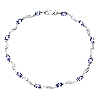 Ariel 9ct White Gold Tanzanite Wave Bracelet with Diamond