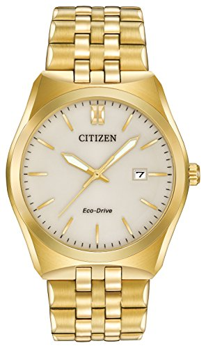 Citizen Corso Men's Quartz Watch with Beige Dial Analogue Display and Silver Stainless Steel Gold Plated Bracelet BM7332-53P
