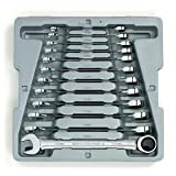 GearWrench 9412 12 Piece Metric Ratcheting Wrench Set (Color: Silver)
