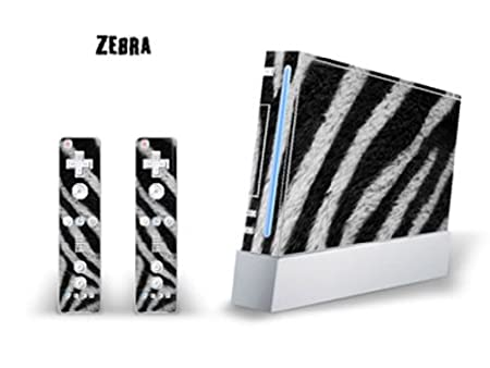 Skin Decal Cover for Nintendo Wii Console + two Wiimote Controllers Sticker- Zebra
