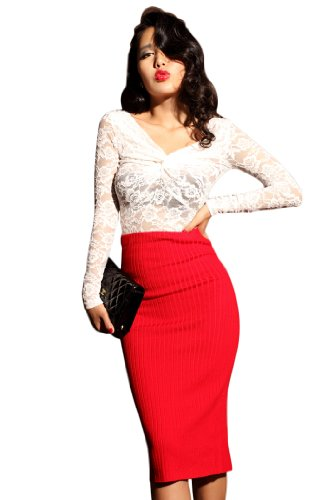 Krazy Knitted High Waist Slim Fit Pencil Straight Knee Career Wiggle Skirt RED US Size 0-6 Image