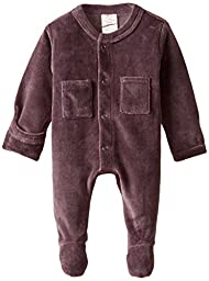 L\'ovedbaby Unisex-Baby Newborn Organic Cotton Velour Footed Overall, Eggplant, New Born