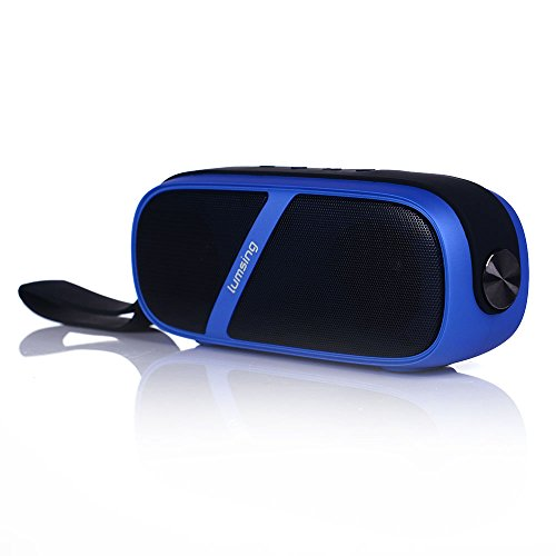 Lumsing® Portable Wireless Stereo Bluetooth Speaker With Nfc Built-In Handsfree Microphone, Rechargeable Battery Up To 25 Hours Playtime Bass Diaphragm Double Stereo Speakers [Lithium 2500Mah Blue]