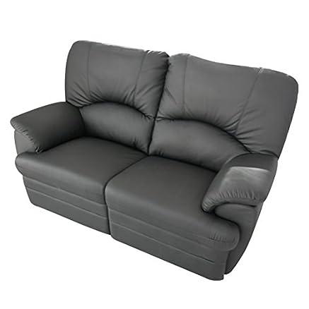 Divano 2 posti Relax 2 recliner totali in ecopelle morbida modello Luca - Nero PU