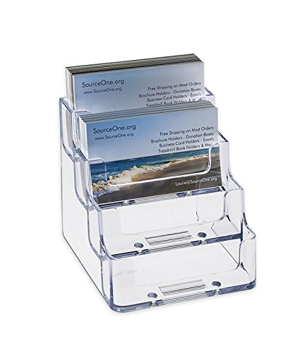 Source One 4 Pocket Clear Acrylic Business Card Holder (BC-4P) (Business Card Stand Holder compare prices)