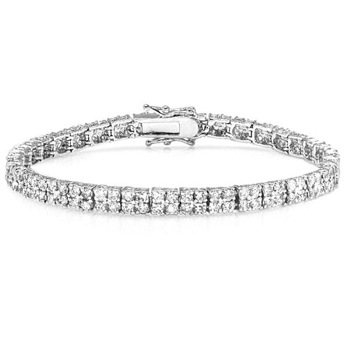 15.00 CT Platinum Plated Clear Round CZ Cubic