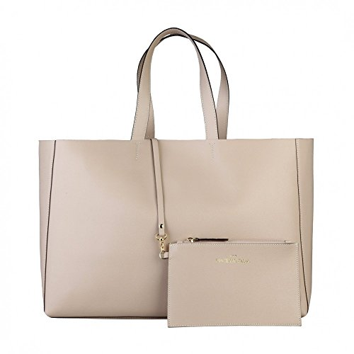 Made In Italia - Borsa Shopping Bag Realizzata In 100% Pelle Saffiano Con Due Manici Sabbia