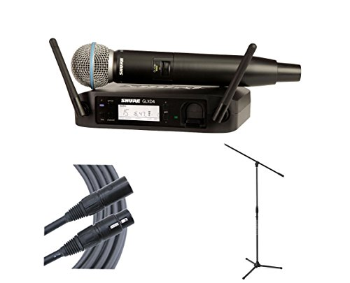 Shure GLXD24/SM58 (Band Z2) Wireless SM58 Microphone + Stand + Mogami Cable