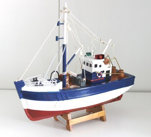 Modelling Kit Fishing Cutter 24 CM Wood Ready Made many Details Boat Ship Kutter