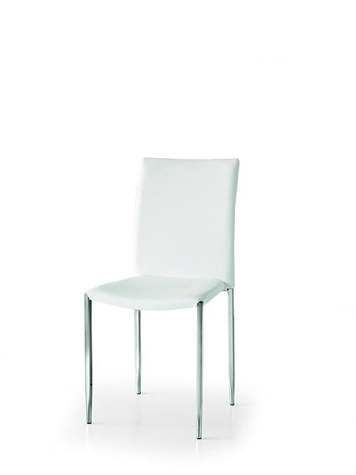 Conjunto de 4 sillas de ecopiel de color blanco y patas cromadas