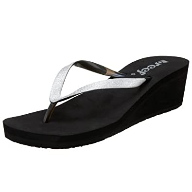 Reef Women's Krystal Star Wedge Sandal,Black/Silver,5 M