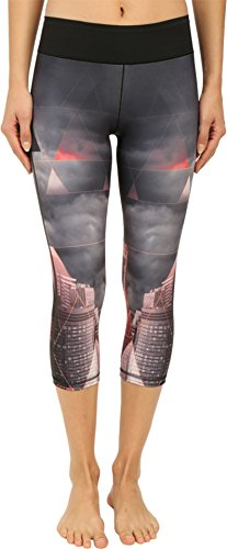 adidas Women's Workout Mid Rise 3/4 Tights w/ City Attack Print Black Pants XL X 19