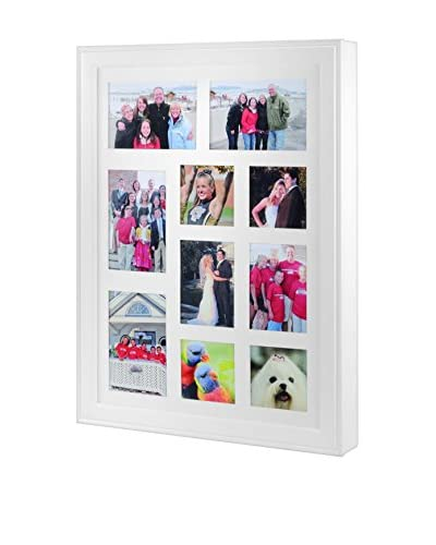 Alps Wall-Mounted Picture Frame Jewelry Box, White