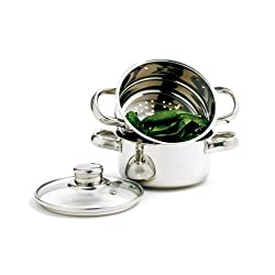 Norpro 1 Quart Stainless Steel Mini Steamer Cooker Set, 3-Pieces