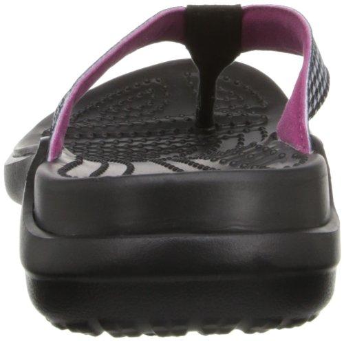 Crocs Womens Women's Capri HF Flip Flop,Black/White,8 M US