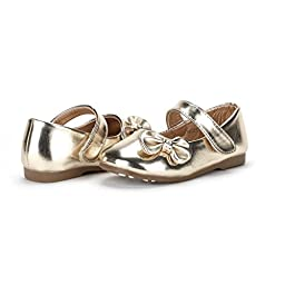 Dream Pairs ANGEL-5 Adorable Mary Jane Side Bow Velcro Strap Ballerina Flat (Toddler/ Little Girl) New Gold Pu Size 8