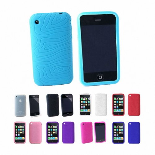 Apple iPhone 3G 3Gs 8GB 16GB 32GB Textured Silicone Skin Case Cover + Free Screen Protector, Blue, One Size